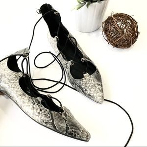 TOPSHOP Ghillie Snake Print Lace Up Pointed Flats